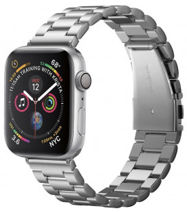 "Sidabrinės spalvos apyrankė Apple Watch 4 / 5 / 6 / 7 / SE (42 / 44 / 45 mm) laikrodžiui ""Spigen Modern Fit Band"""