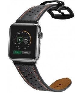 """Juoda apyrankė Apple Watch 1/2/3/4/5 (42/44mm) laikrodžiui """"Tech-Protect Leather"""""""