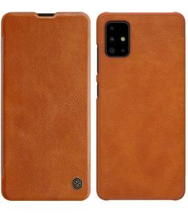 """Odinis rudas atverčiamas dėklas Samsung Galaxy A71 telefonui """"Nillkin Qin"""""""
