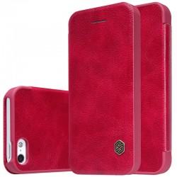 """Odinis raudonas atverčiamas dėklas Apple iPhone 5/5s/SE telefonui """"Nillkin Qin"""""""
