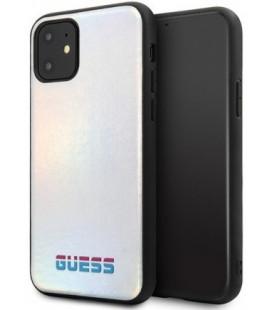 """Sidabrinės spalvos dėklas Apple iPhone 11 telefonui """"GUHCN61BLD Guess Iridescent Cover"""""""