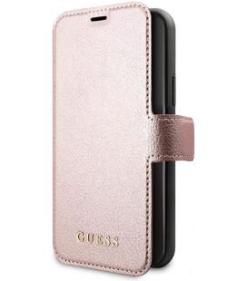 """Rausvai auksinės spalvos atverčiamas dėklas Apple iPhone 11 telefonui """"GUFLBKSN61IGLRG Guess Iridescent Book Case"""""""