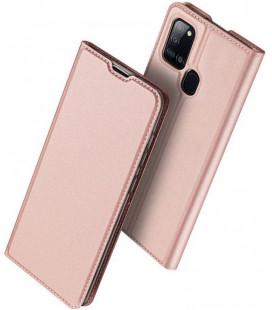 """Rausvai auksinės spalvos atverčiamas dėklas Samsung Galaxy A21S telefonui """"Dux Ducis Skin Pro"""""""