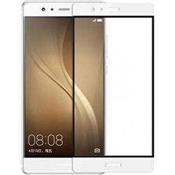 """Stiklo apsauga - lenktas baltas grūdintas stiklas """"Tempered Glass"""" Huawei P9 telefonui"""