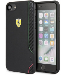 "Juodas dėklas Apple iPhone 7/8/SE 2020 telefonui ""FESITHCI8BK Ferrari On Track Rubber Soft Cover"""