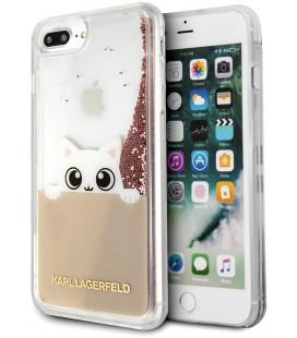 """Auksinės spalvos dėklas Apple iPhone 7/8/SE 2020 telefonui """"KLHCI8PABGNU Karl Lagerfeld Peek and Boo TPU Glitter Case"""""""