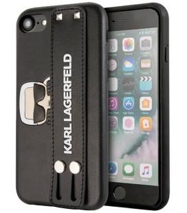 "Juodas dėklas Apple iPhone 7/8/SE 2020 telefonui ""KLHCI8HA2BK Karl Lagerfeld Head Hand Strap Case"""