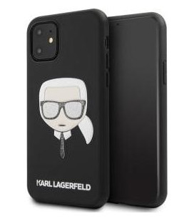 "Juodas dėklas Apple iPhone 11 telefonui ""KLHCN61GLBK Karl Lagerfeld Embossed Glitter Cover"""