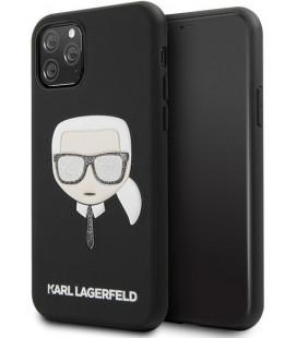"Juodas dėklas Apple iPhone 11 Pro Max telefonui ""KLHCN65GLBK Karl Lagerfeld Embossed Glitter Cover"""