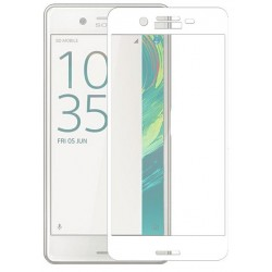"""Stiklo apsauga - lenktas baltas grūdintas stiklas """"Tempered Glass"""" Sony Xperia X telefonui"""