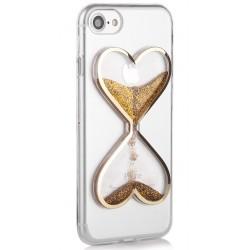 "Auksinės spalvos silikoninis dėklas Apple iPhone 7 telefonui ""Liquid Heart"""