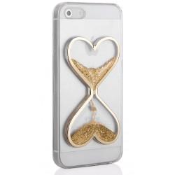 """Auksinės spalvos silikoninis dėklas Apple iPhone 5/5s/SE telefonui """"Liquid Heart"""""""