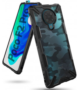 """Juodas (Camo) dėklas Xiaomi Poco F2 Pro telefonui """"Ringke Fusion X"""""""