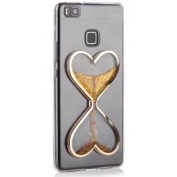 """Auksinės spalvos silikoninis dėklas Huawei P9 Lite telefonui """"Liquid Heart"""""""