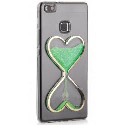 """Žalias silikoninis dėklas Huawei P9 Lite telefonui """"Liquid Heart"""""""