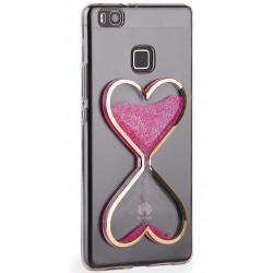 """Rožinis silikoninis dėklas Huawei P9 Lite telefonui """"Liquid Heart"""""""