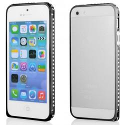Juodas metalinis rėmelis su kristalais Apple iPhone 5/5s/SE telefonui