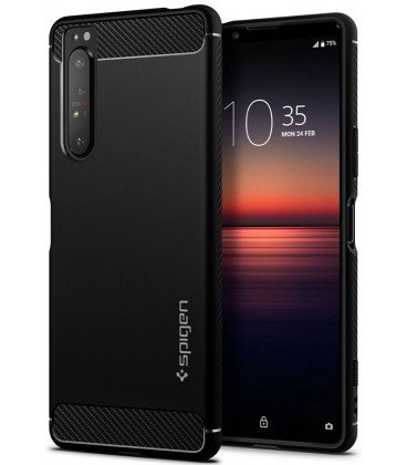 "Juodas dėklas Sony Xperia 1 II telefonui ""Spigen Rugged Armor"""