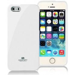 "Baltas dėklas Mercury Goospery ""Jelly Case"" Apple iPhone 5/5s/SE telefonui"