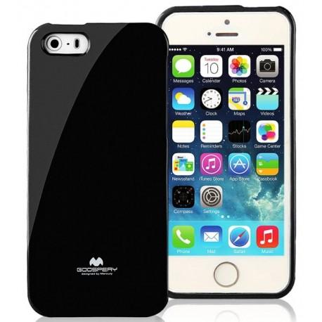 """Juodas dėklas Mercury Goospery """"Jelly Case"""" Apple iPhone 5/5s/SE telefonui"""