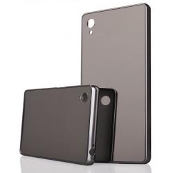 Pilkas metalinis rėmelis su veidrodiniu dangteliu Sony Xperia Z5 telefonui