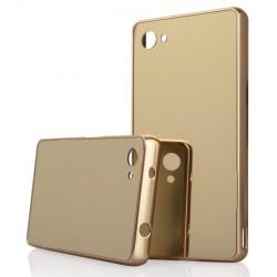 Auksinės spalvos metalinis rėmelis su veidrodiniu dangteliu Sony Xperia Z5 Compact telefonui