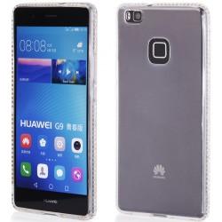 """Skaidrus silikoninis dėklas su blizgučiais Huawei P9 Lite telefonui """"Crystals"""""""
