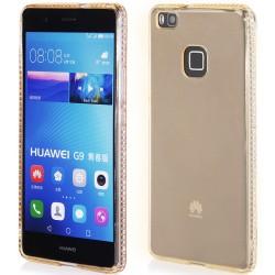 """Huawei P9 Lite auksinis silikoninis dėklas su blizgučiais """"Crystals"""""""