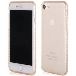 """Auksinės spalvos silikoninis dėklas su blizgučiais Apple iPhone 7 telefonui """"Crystals"""""""