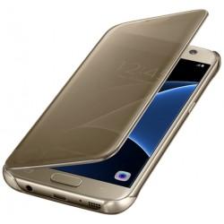 """Originalus atverčiamas auksinės spalvos dėklas """"Clear View Cover"""" Samsung Galaxy S7 telefonui ef-zg930cfe"""