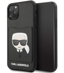 "Juodas dėklas Apple iPhone 11 Pro Max telefonui ""KLHCN65CSKCBK Karl Lagerfeld CardSlot Cover"""
