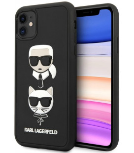 "Juodas dėklas Apple iPhone 11 telefonui ""KLHCN61IK3DKC Karl Lagerfeld 3D Rubber Heads Cover"""