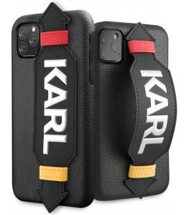"Juodas dėklas Apple iPhone 11 Pro Max telefonui ""KLHCN65HDAWBK Karl Lagerfeld Strap Cover"""