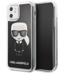 "Juodas dėklas Apple iPhone 11 telefonui ""KLHCN61ICGBK Karl Lagerfeld Iconic Glitter Cover"""