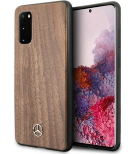 "Rudas dėklas Samsung Galaxy S20 telefonui ""MEHCS62VWOLB Mercedes Wood Cover"""