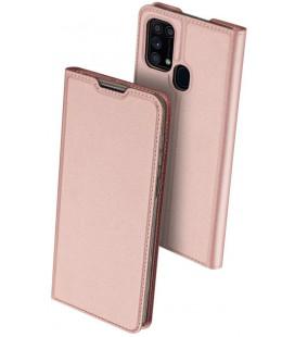"""Rausvai auksinės spalvos atverčiamas dėklas Samsung Galaxy M31 telefonui """"Dux Ducis Skin Pro"""""""