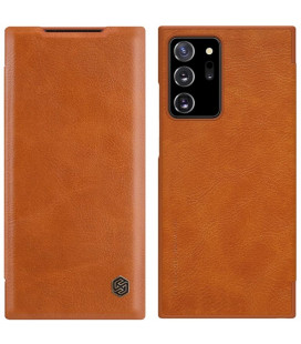 """Odinis rudas atverčiamas dėklas Samsung Galaxy Note 20 Ultra telefonui """"Nillkin Qin"""""""