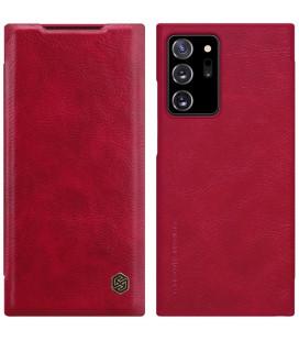 """Odinis raudonas atverčiamas dėklas Samsung Galaxy Note 20 Ultra telefonui """"Nillkin Qin"""""""