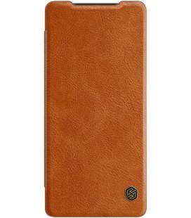 """Odinis rudas atverčiamas dėklas Samsung Galaxy Note 20 telefonui """"Nillkin Qin"""""""