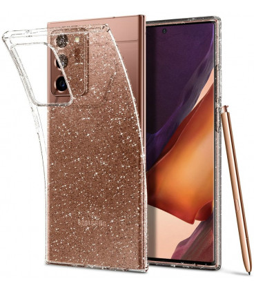 "Skaidrus dėklas su blizgučiais Samsung Galaxy Note 20 Ultra telefonui ""Spigen Liquid Crystal Glitter"""