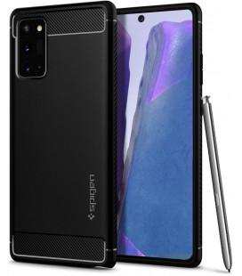 """Juodas dėklas Samsung Galaxy Note 20 telefonui """"Spigen Rugged Armor"""""""