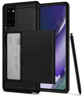 """Juodas dėklas Samsung Galaxy Note 20 telefonui """"Spigen Slim Armor CS"""""""
