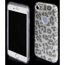 """Sidabrinės spalvos silikoninis blizgantis dėklas Apple iPhone 7 telefonui """"Blink Panther"""""""