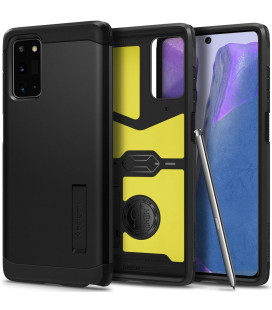 """Juodas dėklas Samsung Galaxy Note 20 telefonui """"Spigen Tough Armor"""""""