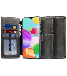 """Juodas atverčiamas dėklas Samsung Galaxy A21S telefonui """"Tech-protect Wallet"""""""