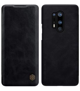 """Odinis juodas atverčiamas dėklas Oneplus 8 Pro telefonui """"Nillkin Qin"""""""
