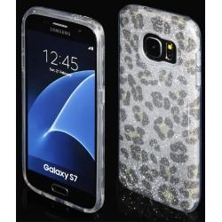 """Sidabrinės spalvos silikoninis blizgantis dėklas Samsung Galaxy S7 G930F telefonui """"Blink Panther"""""""