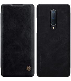 """Odinis juodas atverčiamas dėklas Oneplus 8 telefonui """"Nillkin Qin"""""""