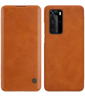 """Odinis rudas atverčiamas dėklas Huawei P40 Pro telefonui """"Nillkin Qin"""""""