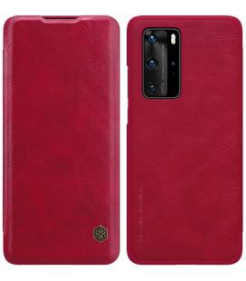 """Odinis raudonas atverčiamas dėklas Huawei P40 Pro telefonui """"Nillkin Qin"""""""